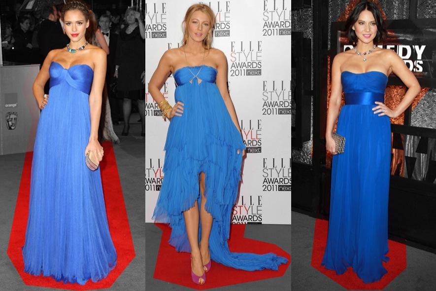 Star con abiti blu sul red carpet