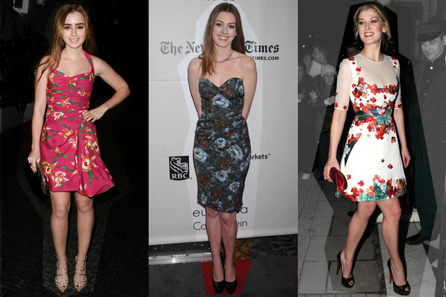Star in abiti floreali: Lily Collins, Anne Hathaway e Rosemund Pike