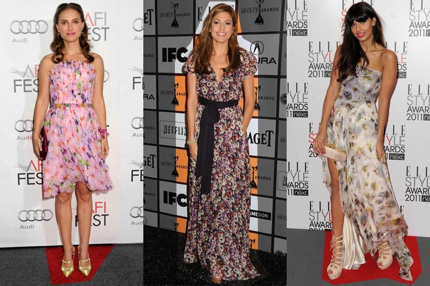 Star in abiti floreali: Natalie Portman, Eva Mendes e Jameela Jamil