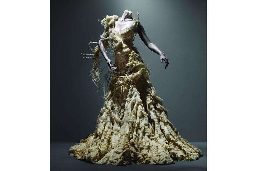 Alexander McQueen abito in organza di seta, georgette e chiffon