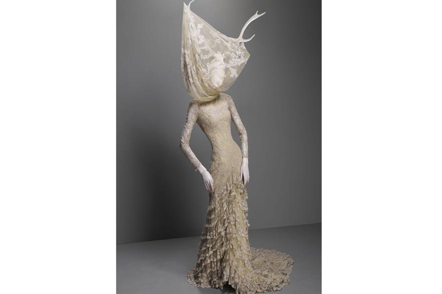 Alexander McQueen abito in tulle di seta e pizzo