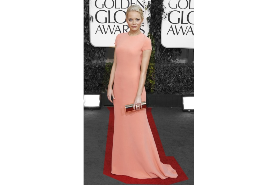 Emma Stone in longdress Calvin Klein color pesca