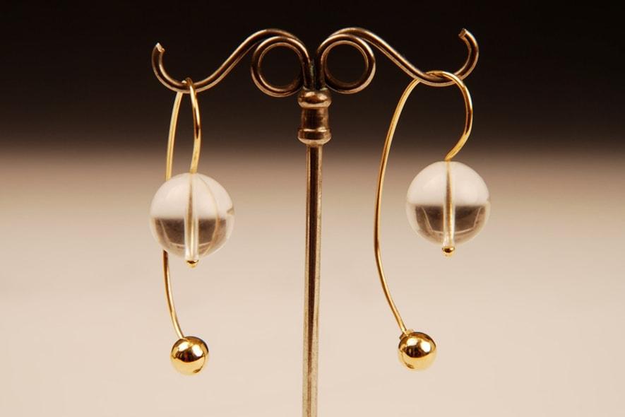 Orecchini oro e cristallo di rocca