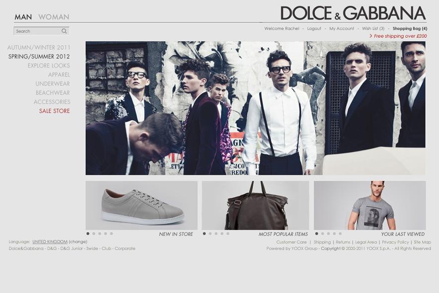 Men's Screenshot dolcegabbanastore.com