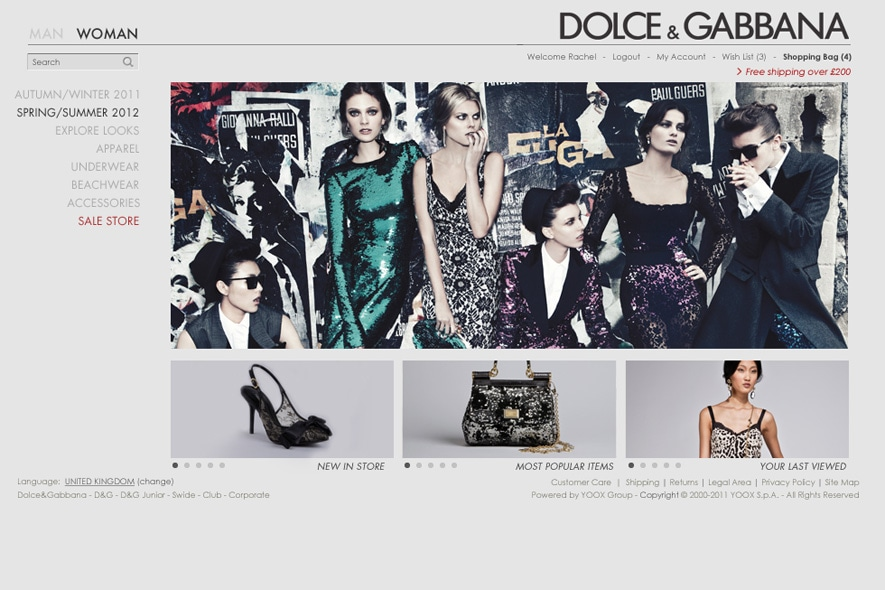 Women's Screenshot dolcegabbanastore.com