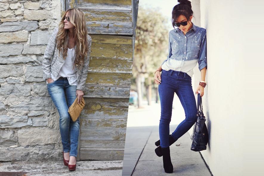 Fashion blogger in denim