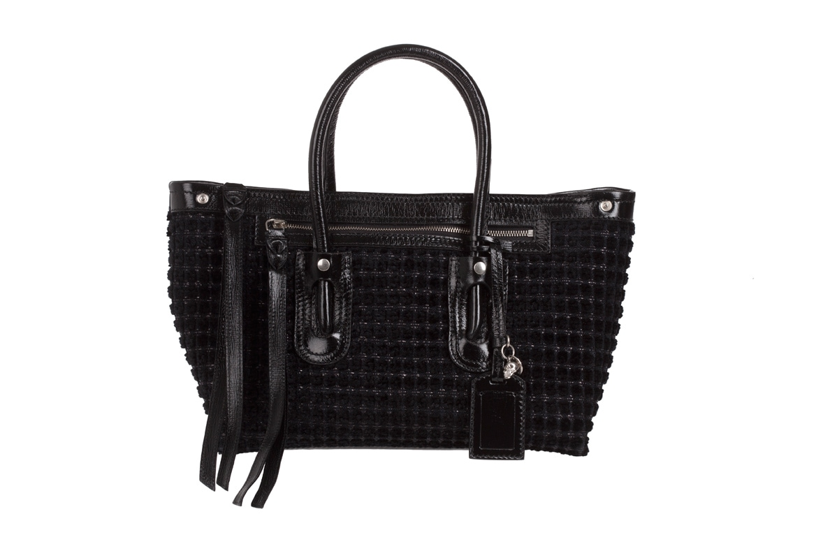 FOLK TOTE by Alexander McQueen in black check velvet AW12