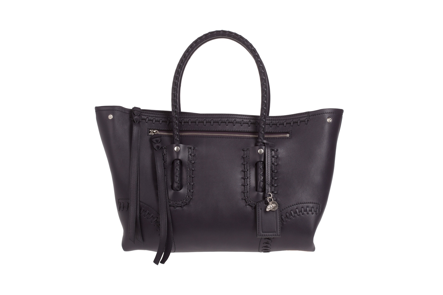 FOLK TOTE by Alexander McQueen in black leather AW12