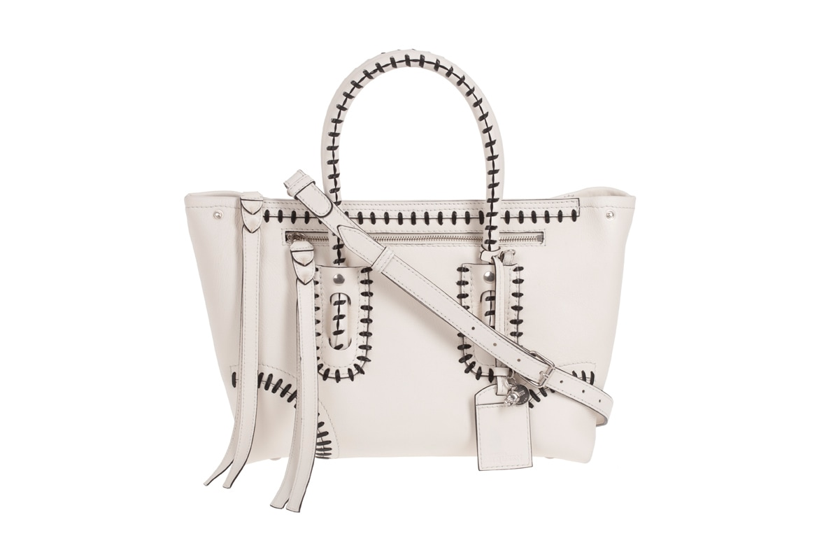 FOLK TOTE by Alexander McQueen in white leather AW12