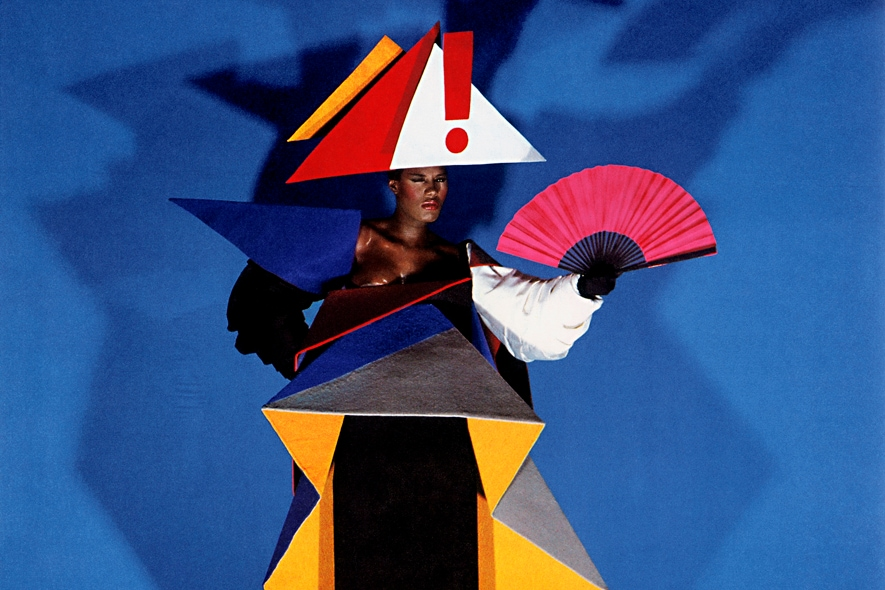 Maternity dress for Grace Jones di Jean Paul Goude and Antonio Lopez   1979