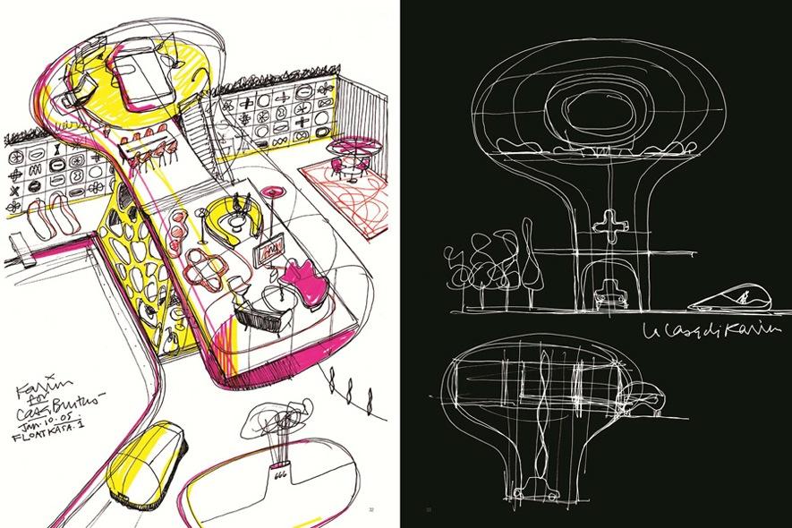 Progetti di  case del futuro  a penna inchiostro e pennarello.