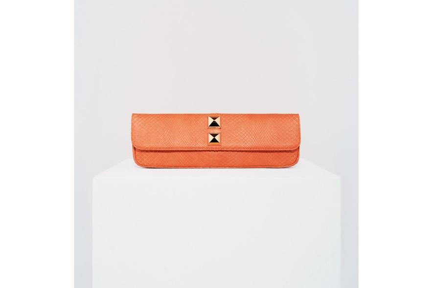 Stark clutch borchie pitone arancio