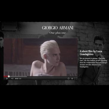"""Armani e Guadagnino nel corto """"One Plus One"""""""