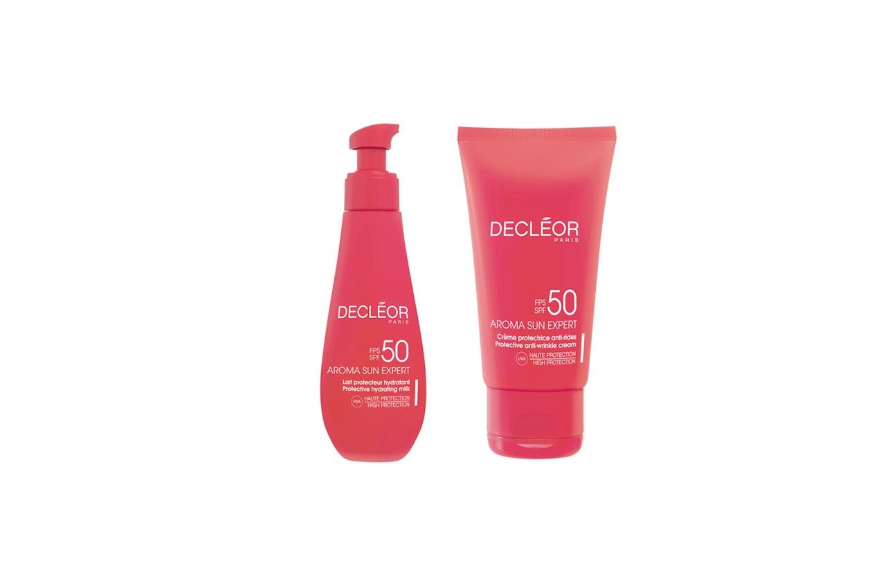 Della linea Aroma Sun Expert di Decléor la Crème protectrice anti-rides SPF50, dedicata alla protezione del viso e Lait protecteur hydratant SPF50