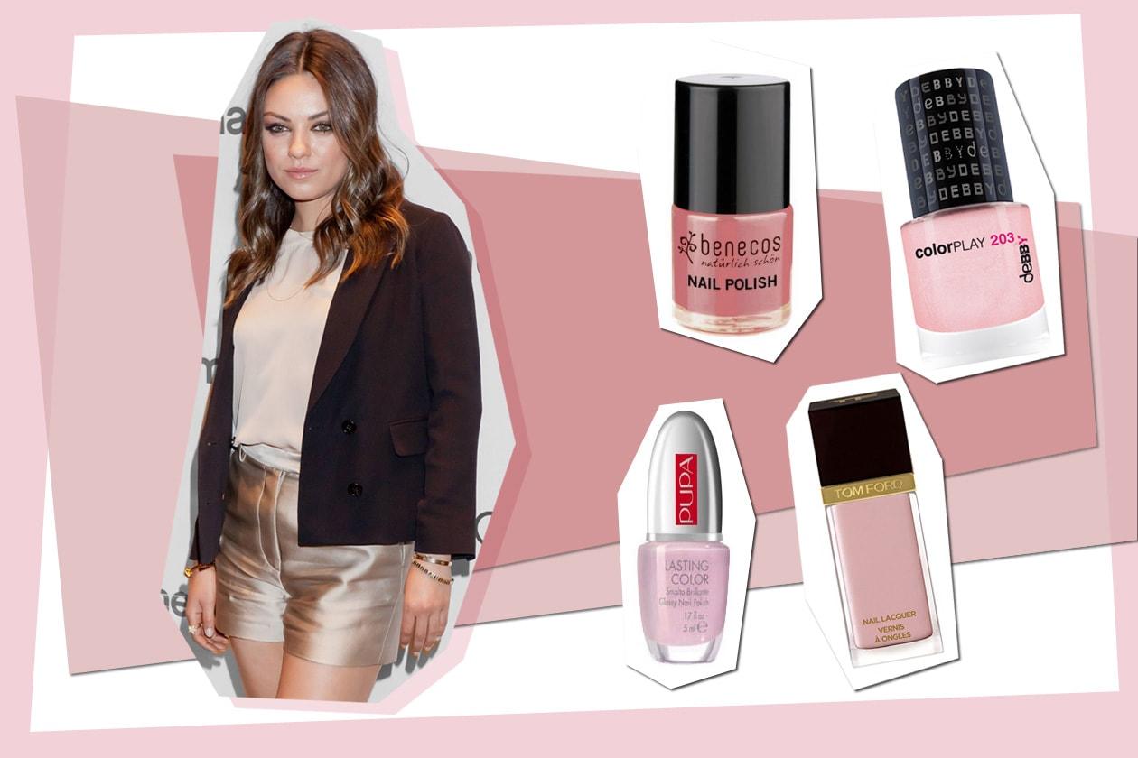 Effetto vintage bon ton per Mila Kunis che sceglie una lacca molto chiara (Benecos – Debby – Pupa – Tom Ford)