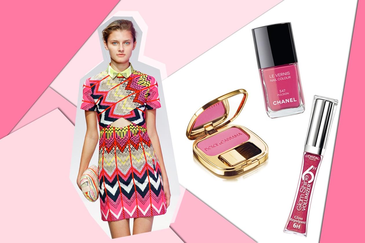 Geometrie dalle tinte forti per il mini dress di Carven. Come le nuance per il viso (Dolce & Gabbana – Chanel)