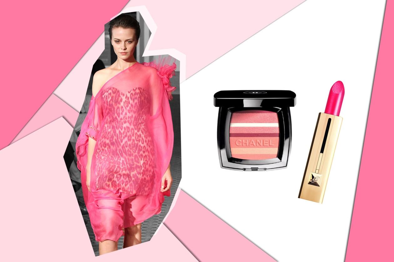 Gioco di trasparenze per Argentine Designers. Sulle labbra lo Shine Automatique di Guerlain e sugli zigomi il blush Horizon di Chanel