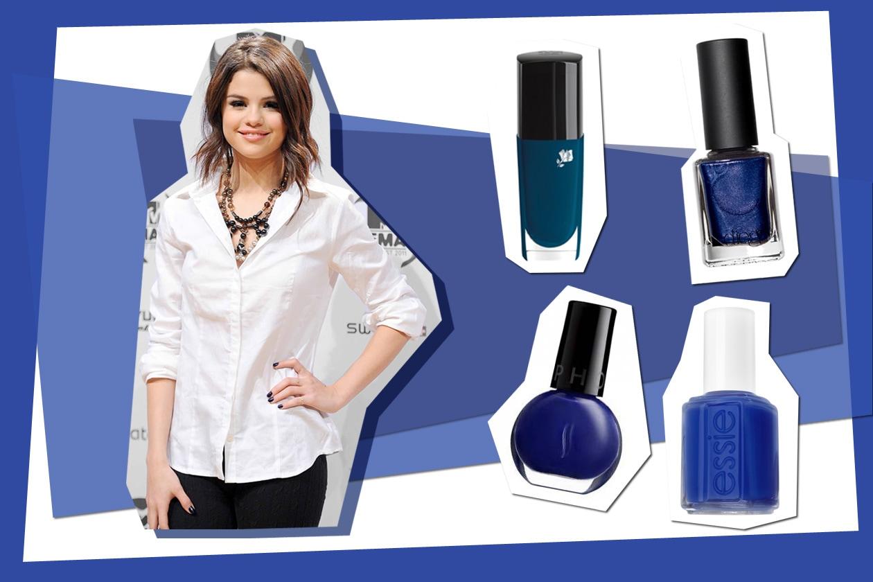 Il colore più facile da abbinare? Il blu nella versione più scura scelta da Selena Gomez (Lancôme – Diego dalla Palma – Sephora – Essie)