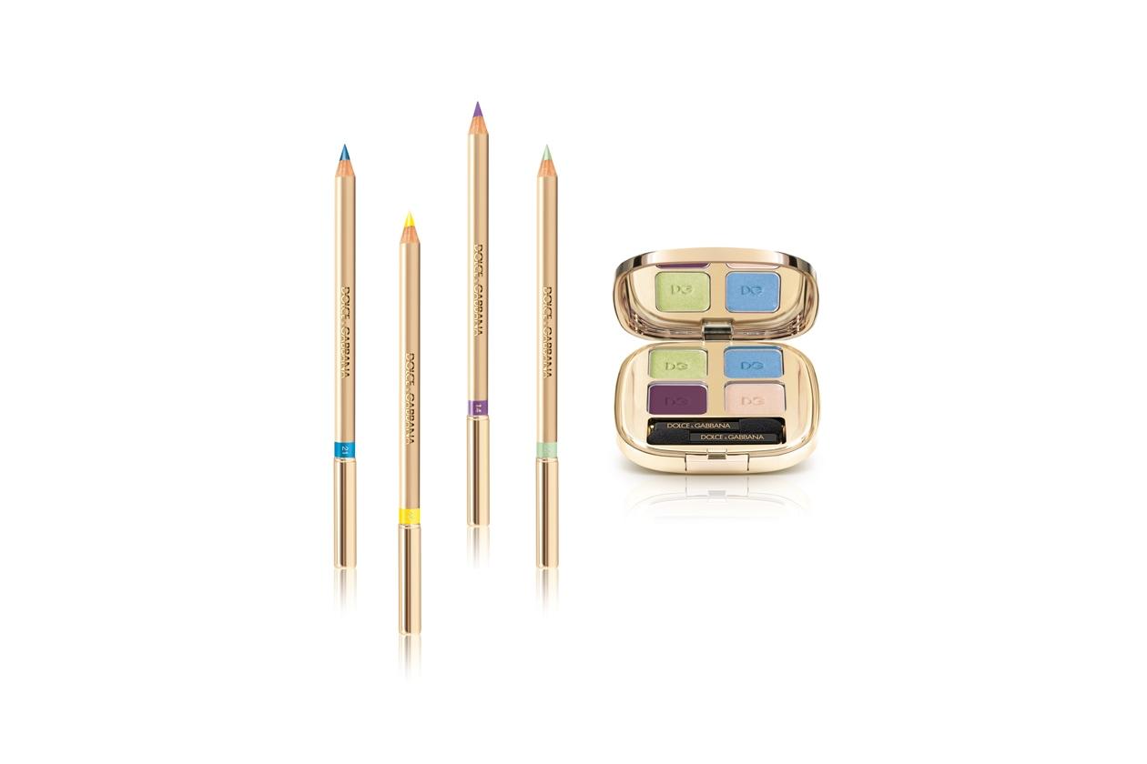 L'eyeshadow Quad di Dolce & Gabbana è composto da un verde chiaro, un blu, un viola e un rosa chiaro
