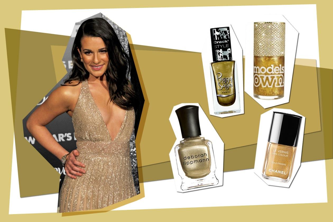 L'oro è il colore preferito dell'attrice Lea Michele (Peggy Sage – Chanel – Deborah Lippmann – Models Own)