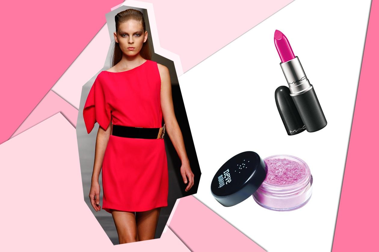 Le pink addicted amano la nuance decisa scelta da Ferré. Occhi luminosi (Neve Cosmetics) e labbra fucsia con Show Orchid di Mac