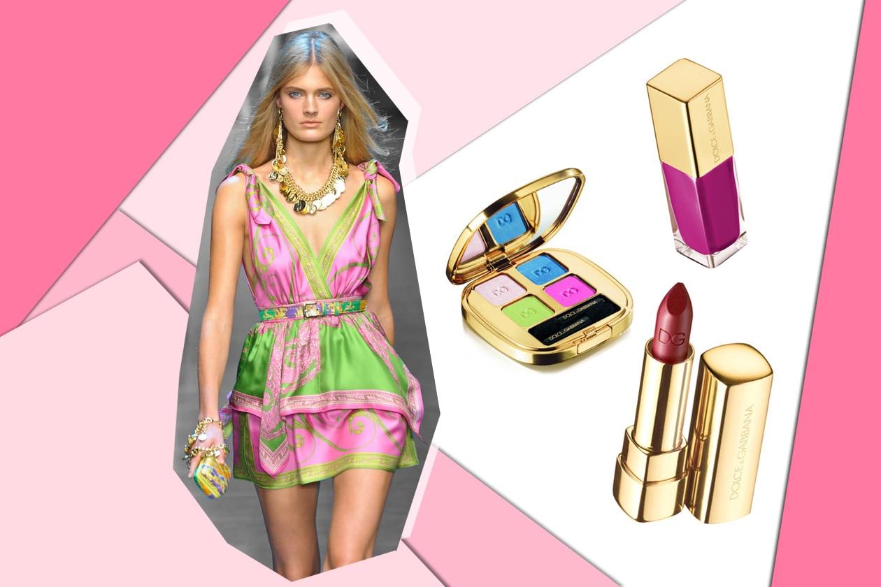 Non solo fucsia: coloriamo gli occhi con polveri azzurre, verde acido e rosa chiaro (Dolce&Gabbana)
