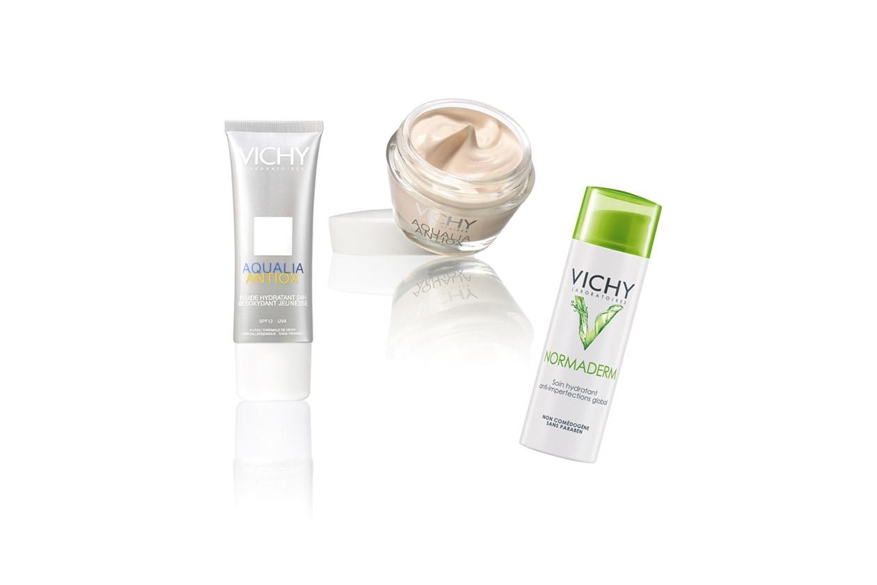 Questo tris di prodotti by Vichy è consigliato per la detersione e  l'idratazione (obiettivo pelle giovane e fresca)