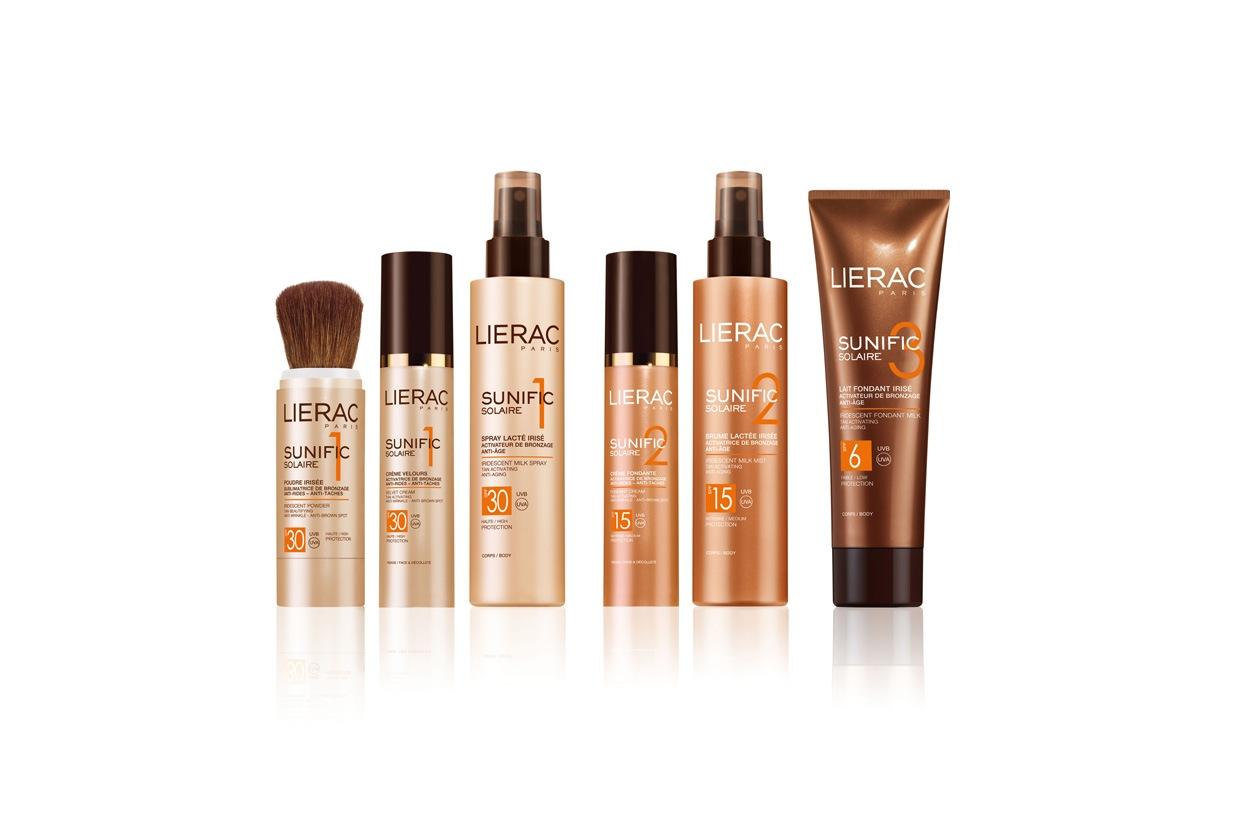 Sei prodotti viso & corpo, dal latte alla crema vellutata fino allo spray iridiscente dedicati a tutte le pelli. By Lierac