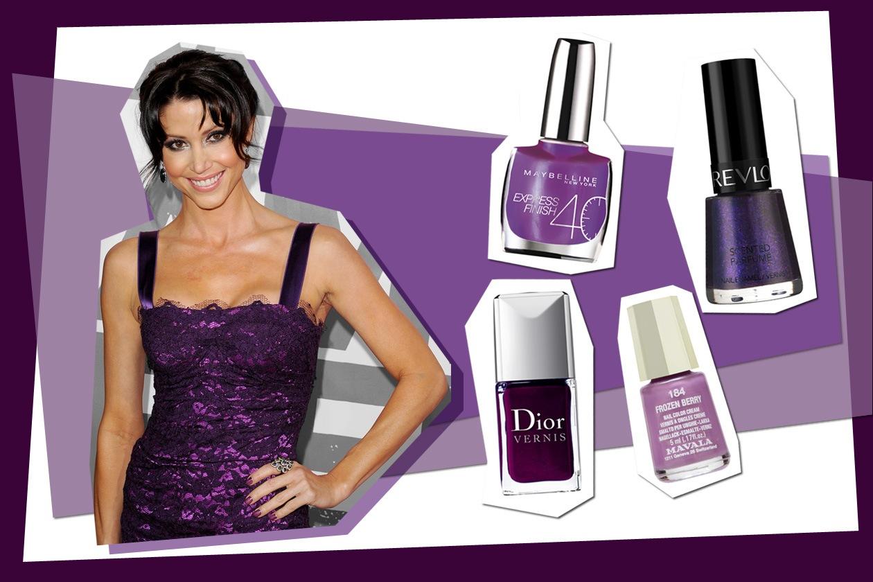Sperimentate la tendenza con più gradazioni del viola, il colore di Shannon Elizabeth (Maybelline – Dior – Revlon – Mavala)