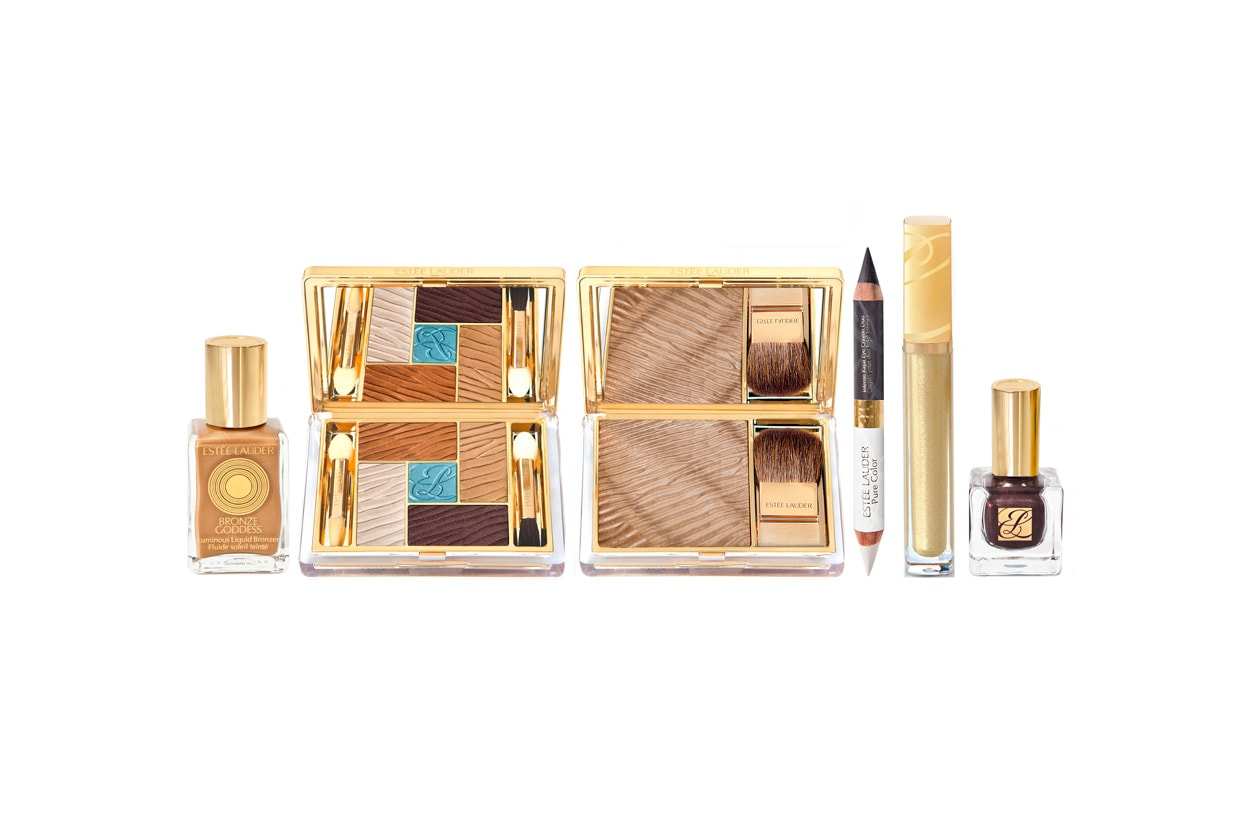 Estée Lauder fa riferimento ai colori bronzo e blu per tonalità dorate e metalliche, luccicanti e piene