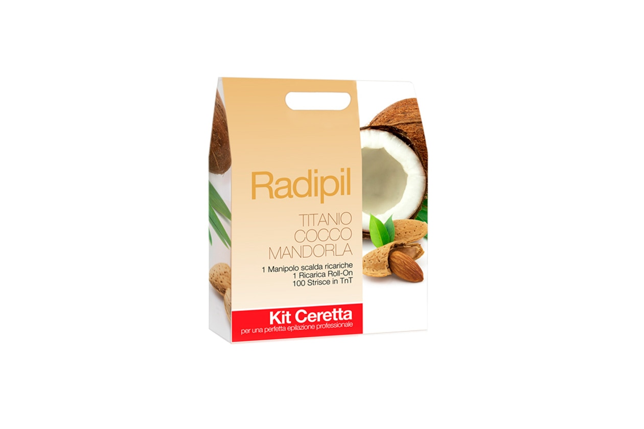 Il kit di Radipil Titanio Cocco e Mandorla con Roll contiene una cera liposolubile dalla consistenza morbida e facile da stendere
