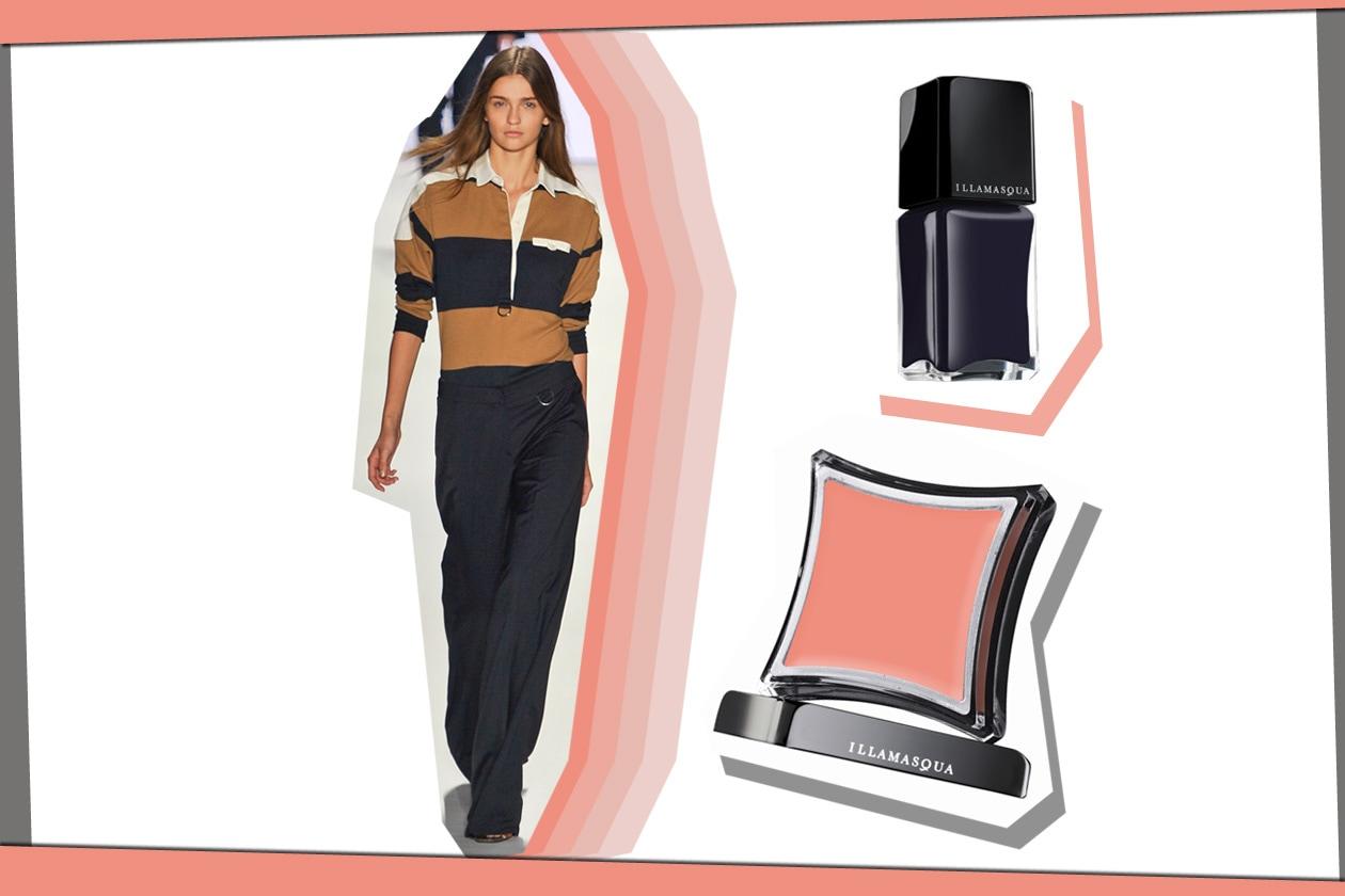 Marrone, rosa e blu sono colori (Lacoste) passepartout; marrone per le mani e sugli zigomi il Cream Androgen Blush (Illamasqua)