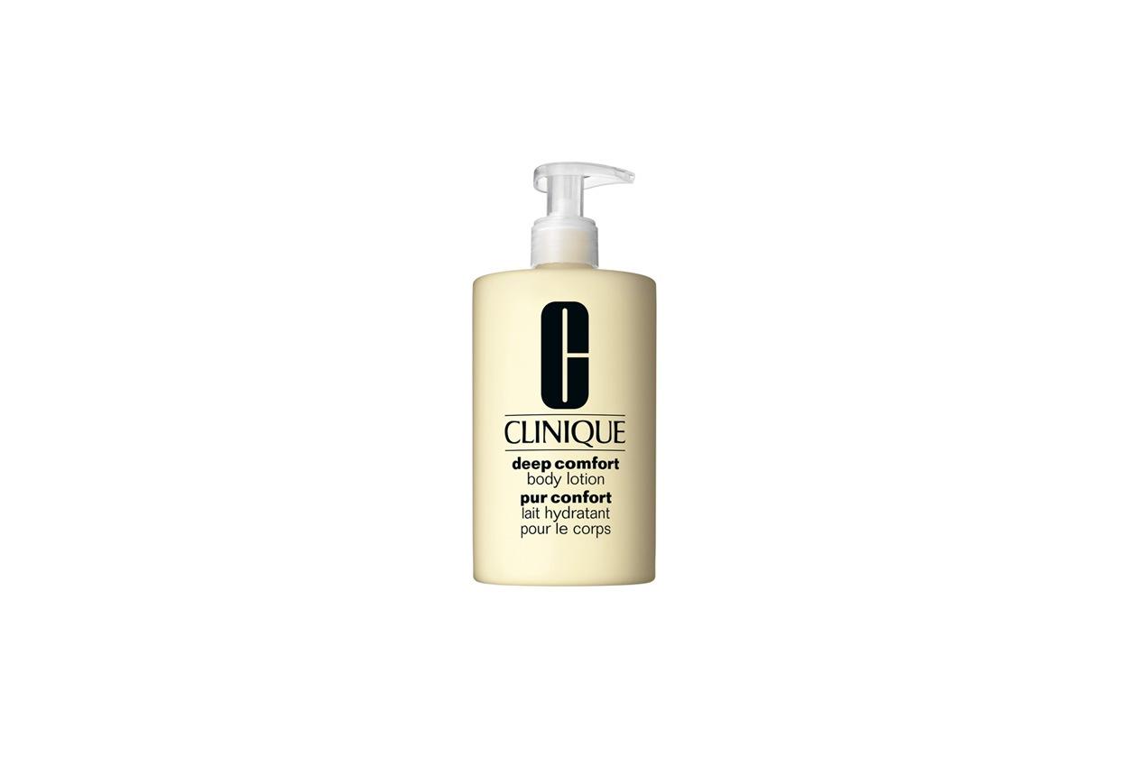 Ottima per idratare la pelle la lozione corpo Deep Comfort di Clinique ha un'azione calmante e lenitiva grazie alla caffeina e all'estratto di genziana