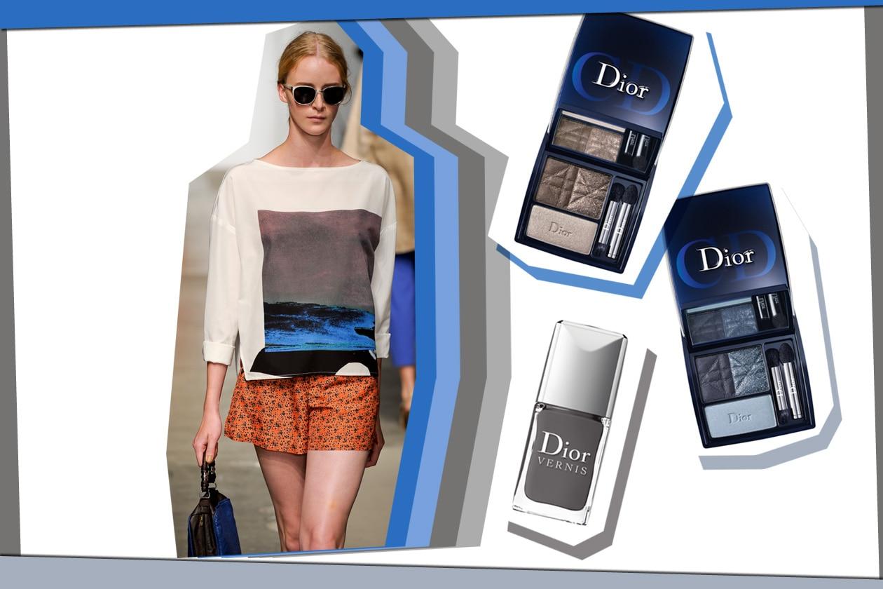 Rachel Comey sceglie un look giovanile. Da abbinare le due palette Dior, la Smoky Navy e la Smoky Brown