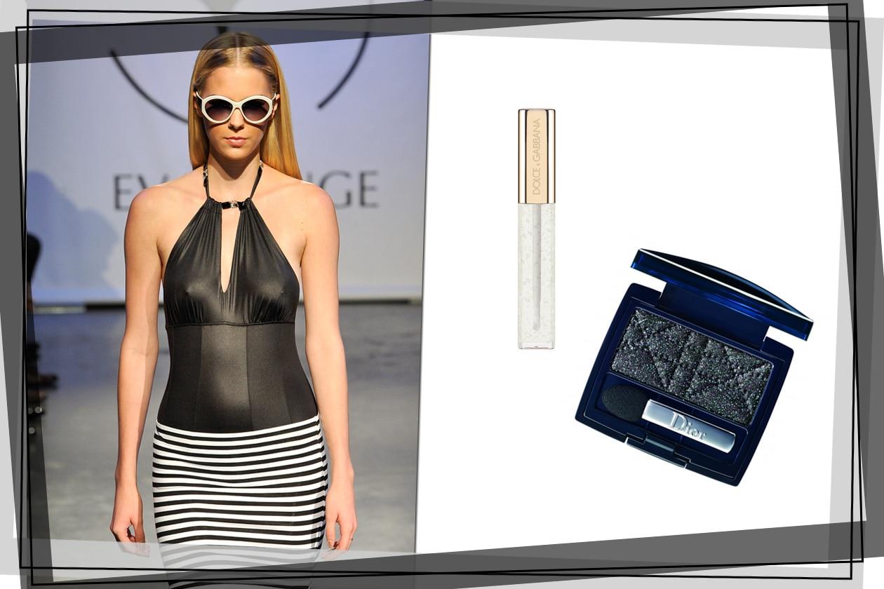 Al vestito superaderente di Eva Minge abbiniamo un look naturale: un gloss trasparente sulle labbra e un ombretto nero per gli occhi (Dolce & Gabbana, Dior)