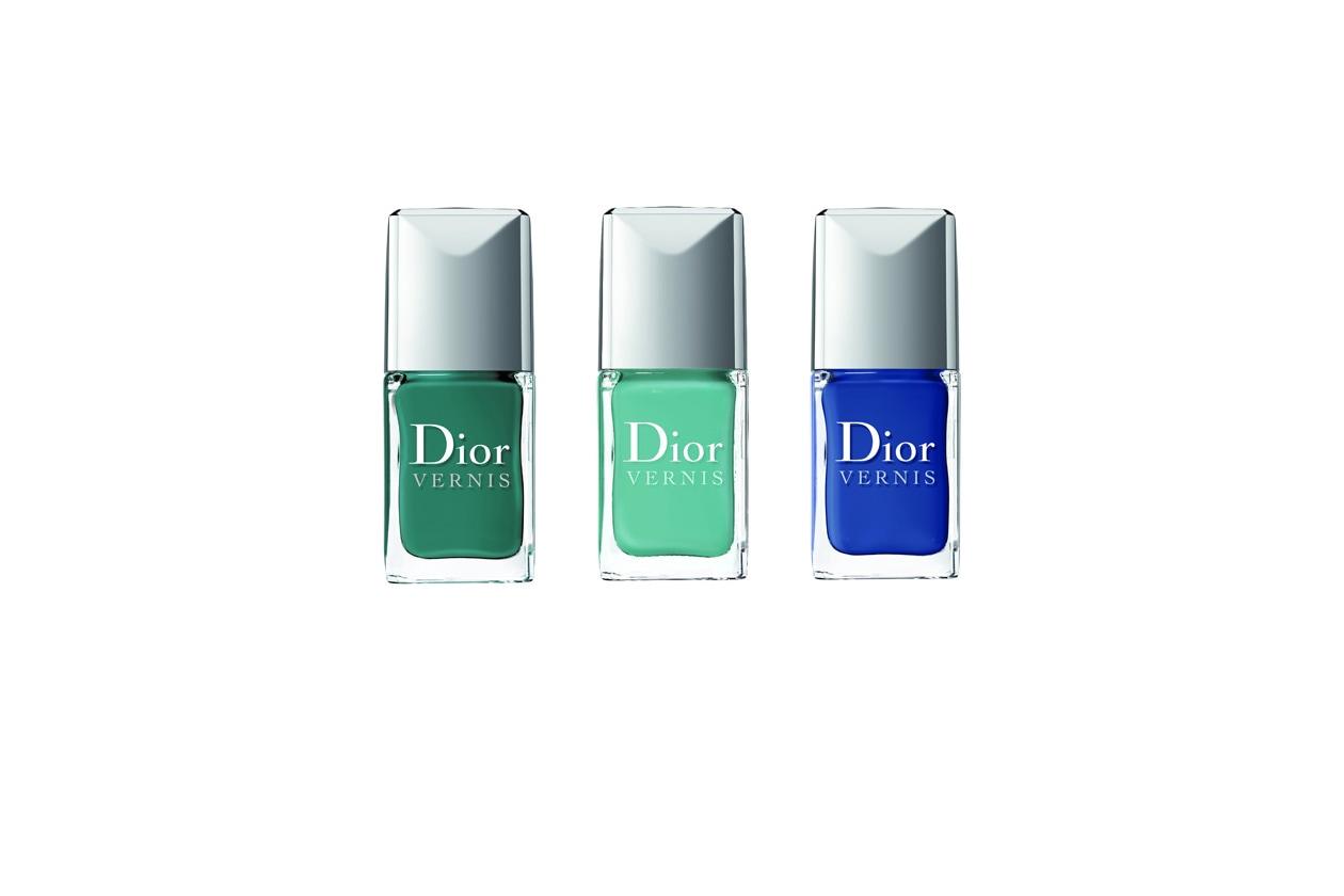 """Concludiamo la nostra carrellata """"marina"""" con un trio di Dior che va dallo smeraldo fino al blu elettrico, passando per il verde menta"""