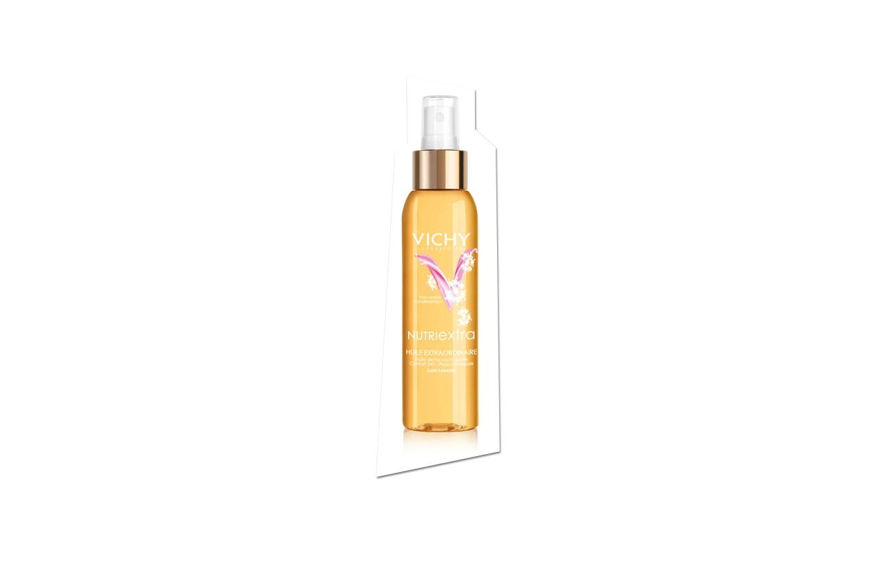 NutriExtra Olio Straordinario di Vichy va vaporizzato su tutto il corpo prima del trattamento idratante per la pelle secca