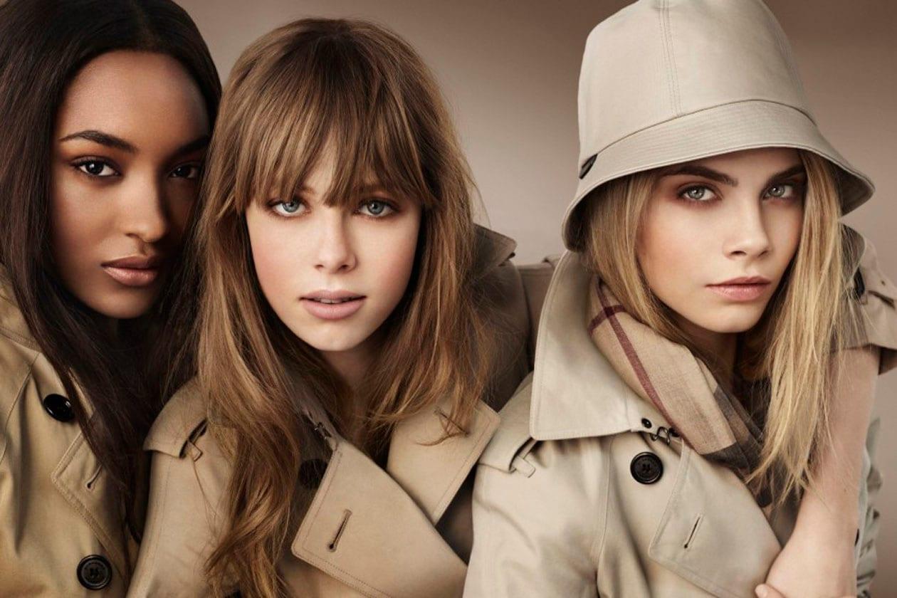 Per la nuova collezione make up Burberry ha scelto un tris di bellezze: Jordan Dunn, Edie Campbell e Cara Delevingne
