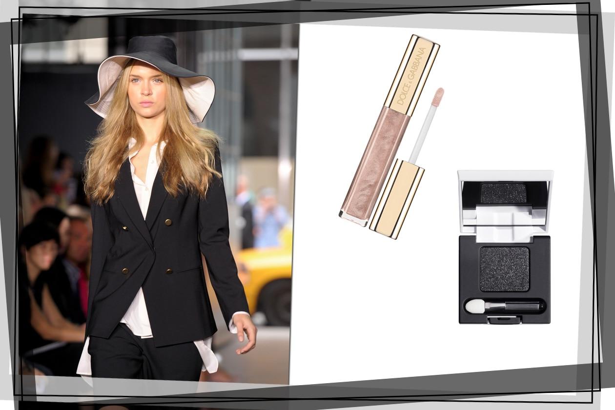 Tailleur maschile per DKNY: valorizziamo il lato femminile con un gloss e uno smoky eyes per gli occhi (Dolce & Gabbana, Diego Dalla Palma)