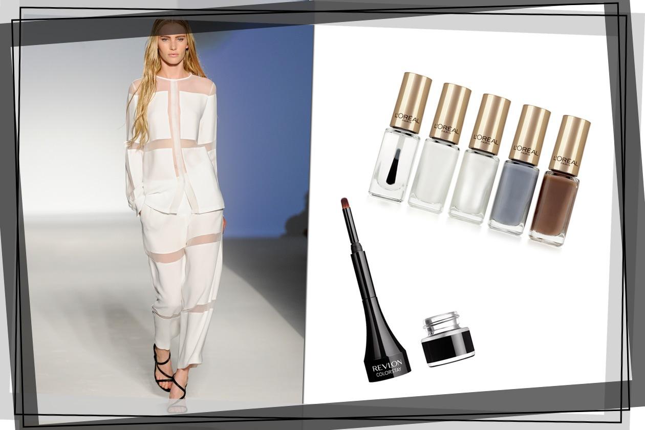 Total white per il completo di Alberta Ferretti che sceglie il nero per gli accessori. Smalto bianco o chiaro e eyeliner sugli occhi (L'Oréal Paris e Revlon)
