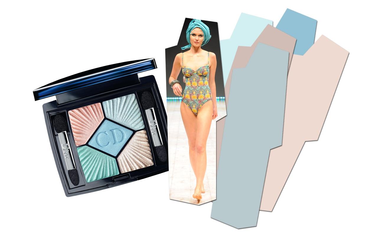 Abbiniamo la palette Swimming Pool  di Dior al costume intero by Solar, perfetto per i party in piscina