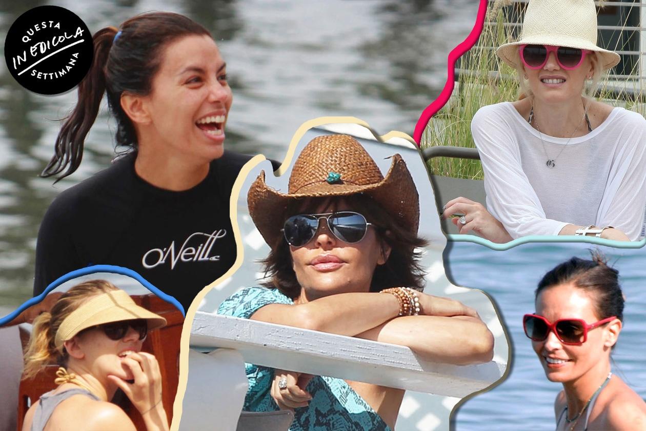 Collage Beauty Capelli delle celebrities al mare