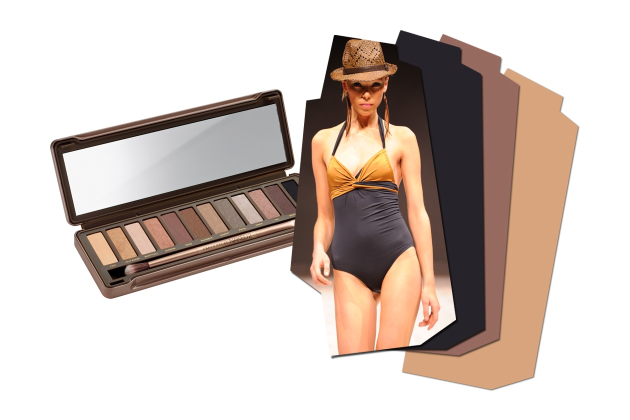 Effetto nude con la Naked Palette 2 di Urban Decay; l'abbinamento è con un costume più classico (Atelier Du Maillot)