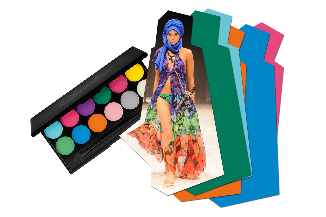 Preferiamo palette dai colori vivaci come la Ultra Mattes Brights di Sleek che scegliamo per questo costume/vestito di Gottex