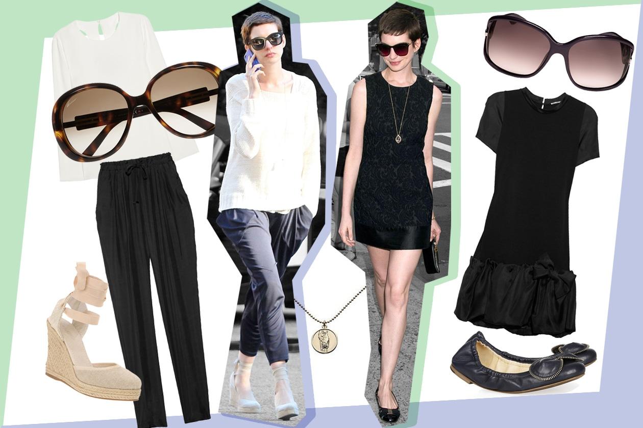 Anne Hathaway: maschile di giorno, chic di sera