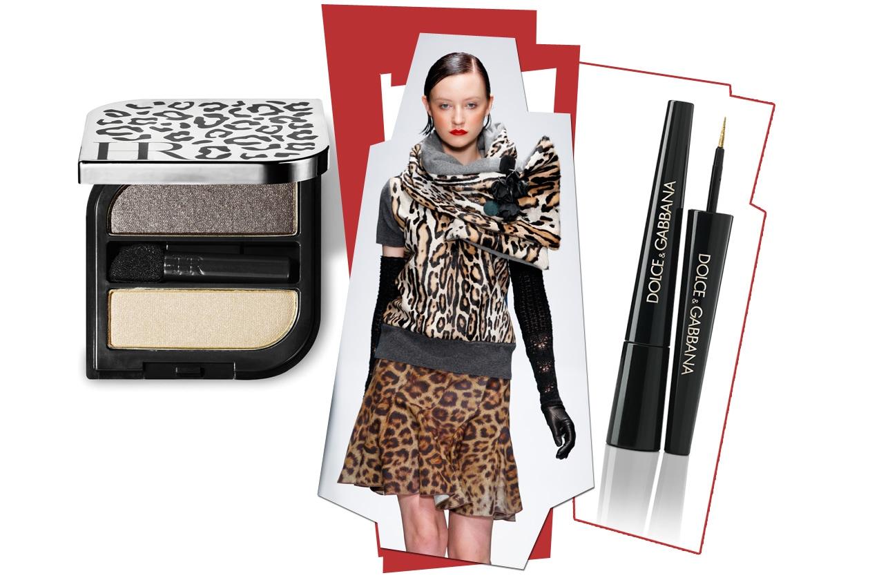 Occhi colorati da polveri chiare (Helena Rubinstein) e sottolineati da una riga di eyeliner (Dolce& Gabbana) per la modella di Angelo Marani