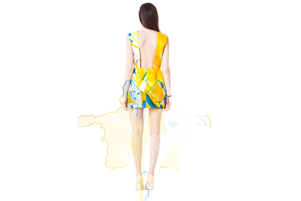 Caterina Gatta abito giallo blu retro