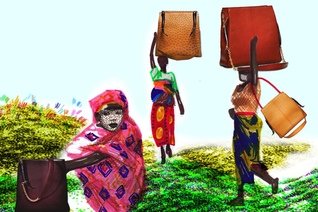 Borse di Okapi Handbags in struzzo e nappa