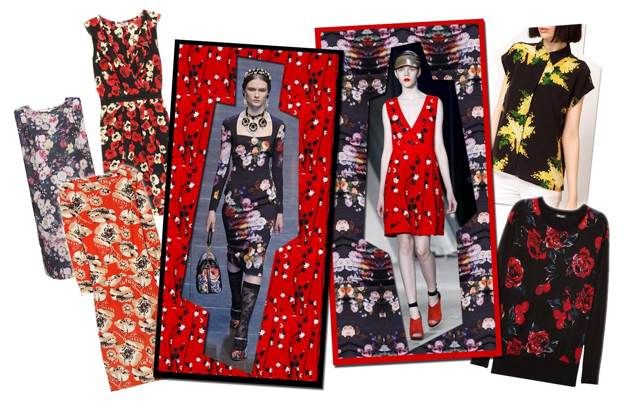 06 Rosso Nero Fiori Collage