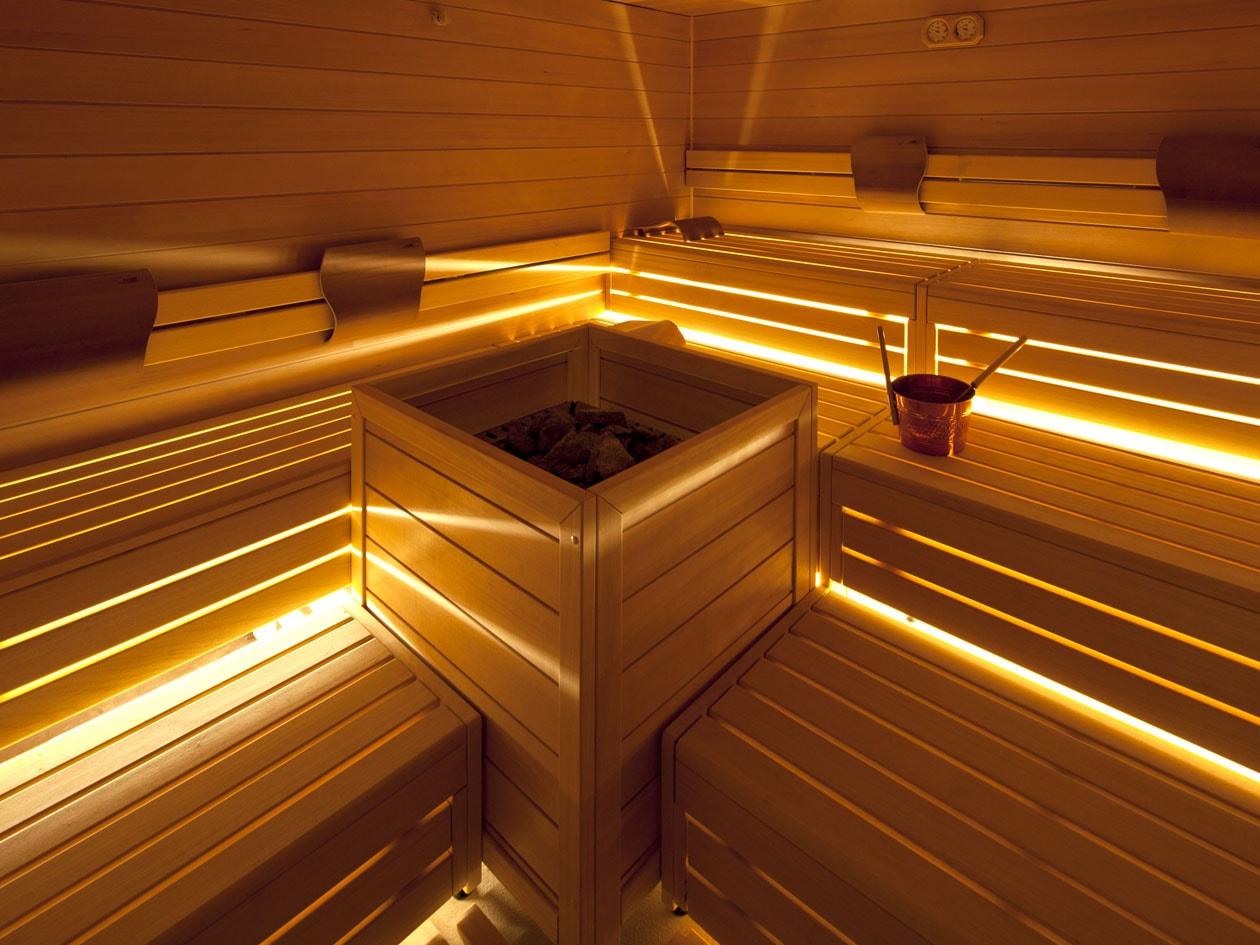 La suana della spa di Borgo Brufa è un momento di passaggio tra un trattamento e l'altro